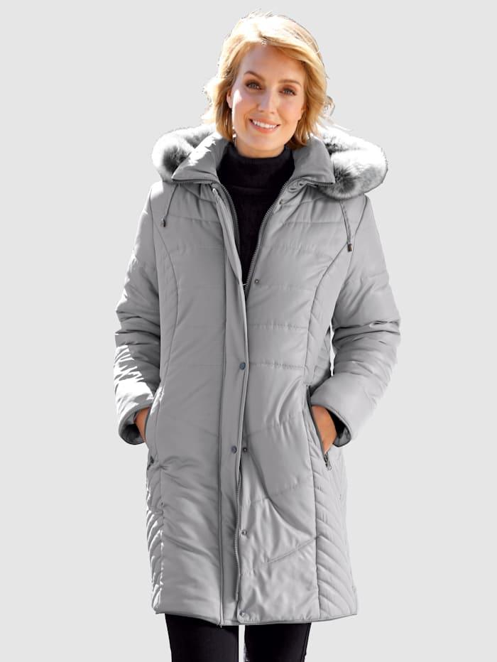 Paola Kurzmantel mit schönem Steppmuster, Grau