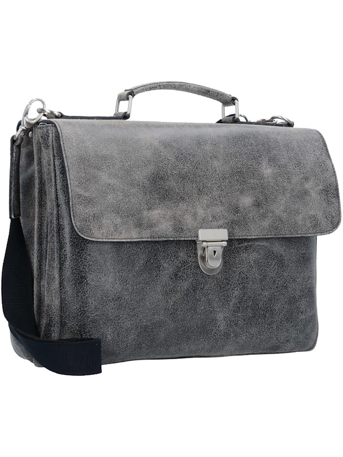 Boston Aktentasche Leder 39 cm Laptopfach Tragegriff, Stiftelaschen, Schlüsselhalter, Fächer für A4 Unterlagen