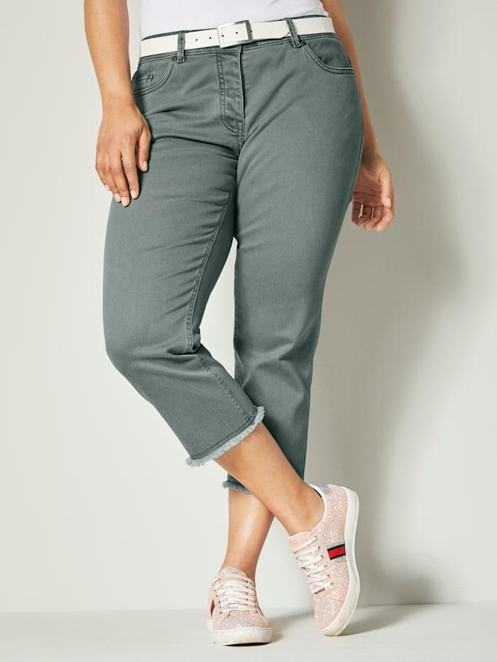 Angel of Style 7/8-jeans met franjes aan de zoom, Kaki