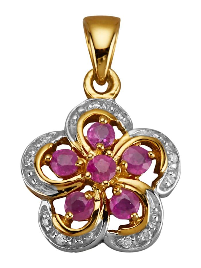 Diemer Farbstein Anhänger mit Rubinen und Diamanten, Rot