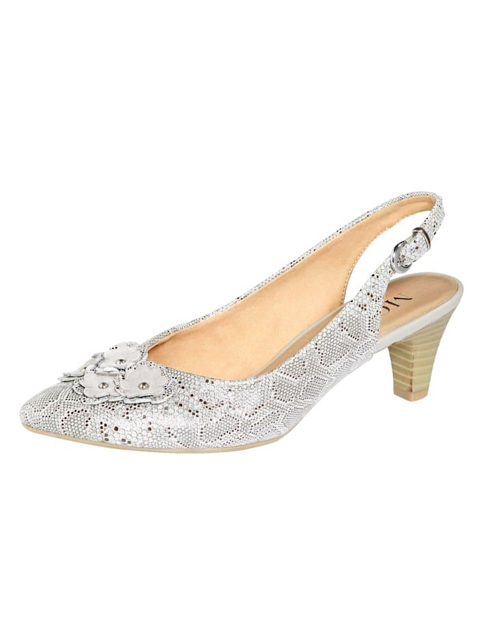 MONA Slingback sandals with floral appliqué, Grey