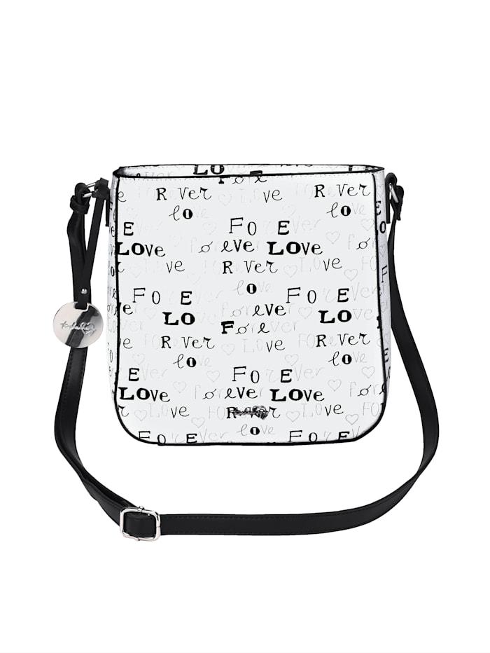 Taschenherz Sac à bandoulière avec inscription LOVE, Blanc/noir