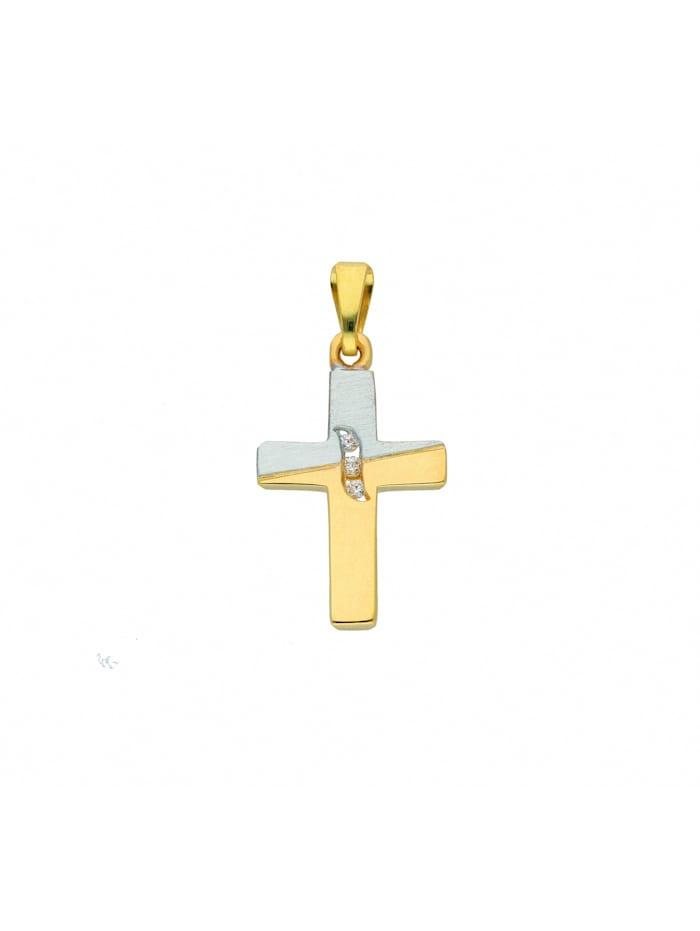 1001 Diamonds Damen & Herren Goldschmuck 585 Gold Kreuz Anhänger mit Zirkonia, gold
