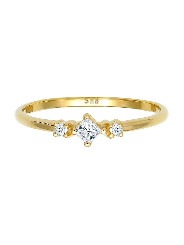 Ring Prinzessschliff Diamant (0.13 Ct) 585 Gelbgold