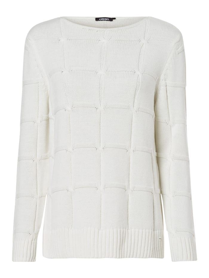 Olsen Strickpullover mit Zopfstruktur, Off White