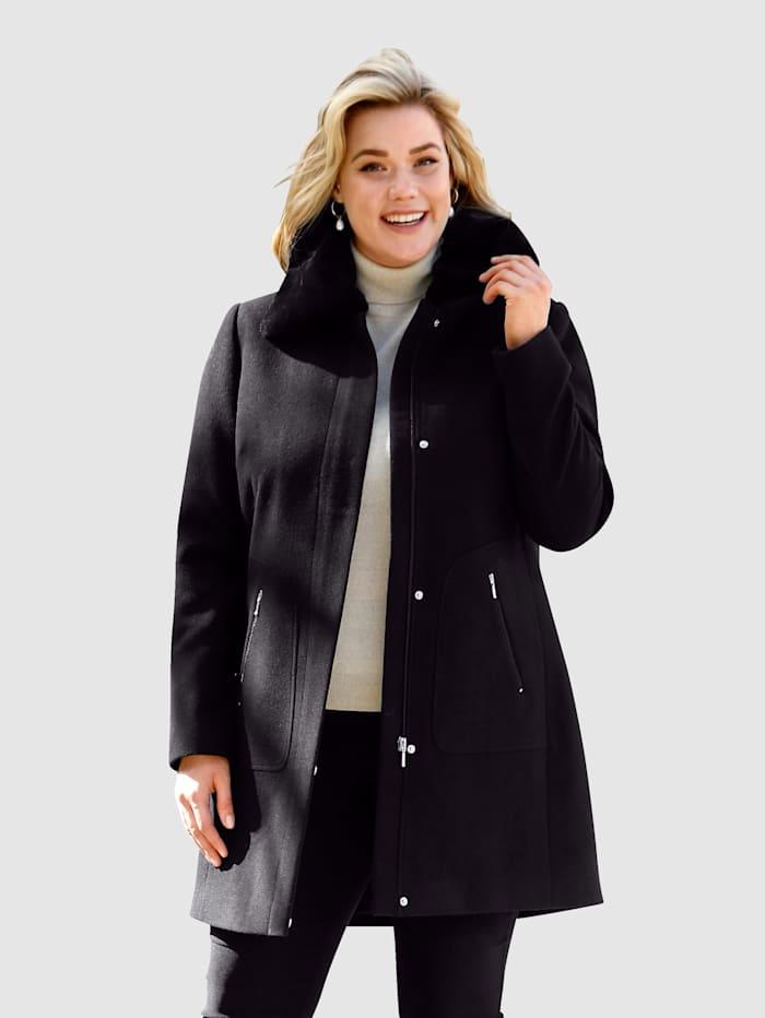 m. collection Kabát s límcem z kožešinové imitace, který lze odepnout, Černá