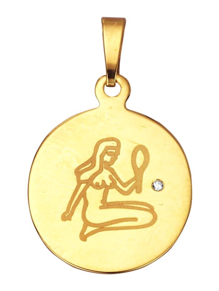 Sternzeichen-Anhänger Jungfrau, Gelbgoldfarben