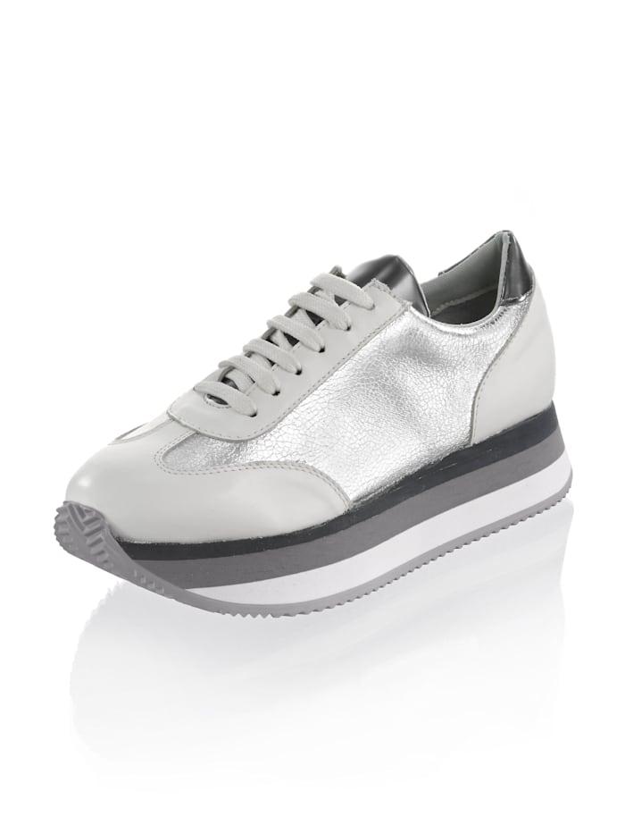 Alba Moda Sneaker van een materialenmix, Wit/Zilverkleur