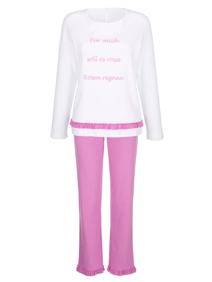 Louis & Louisa Schlafanzug mit romantischem Rüschenbesatz, Pink/Weiß
