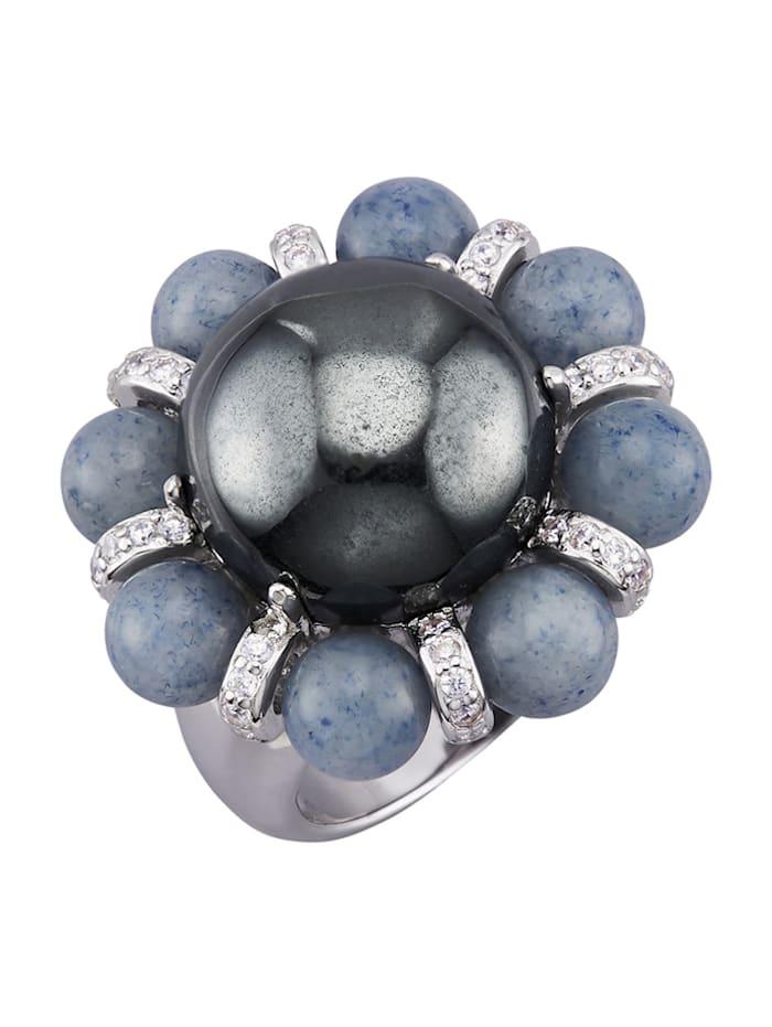 Damesring met gekleurde steentjes, Blauw