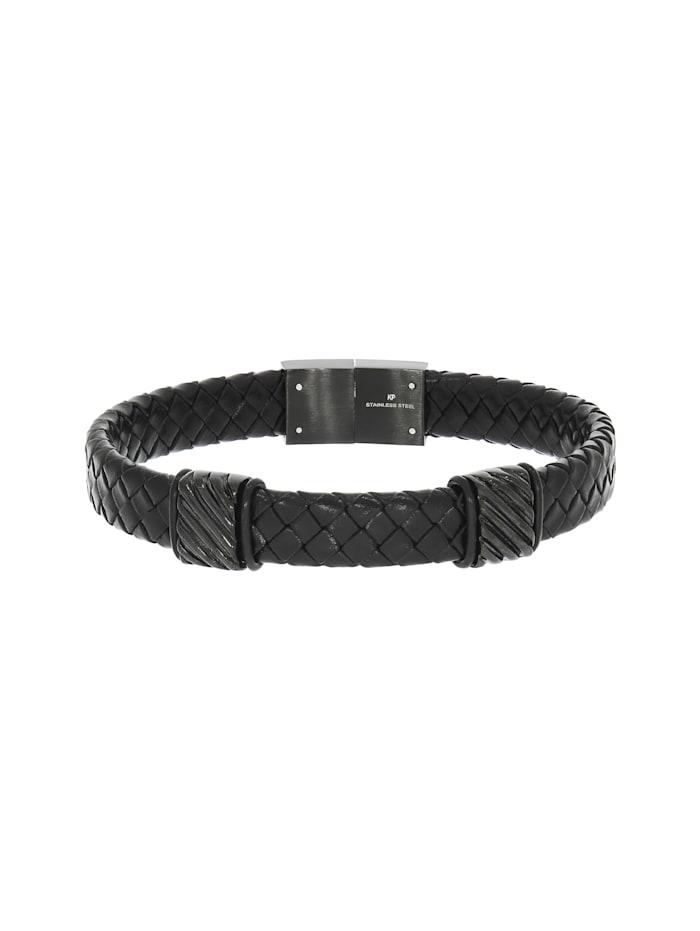 ZEEme Armband Edelstahl 21,5cm Geschwärzt, schwarz