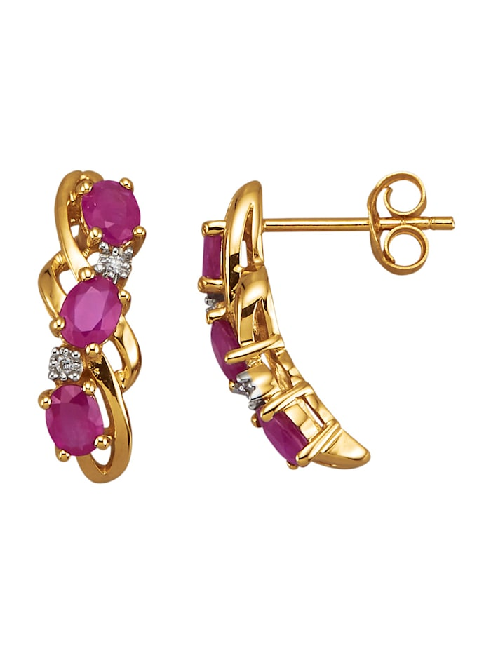Amara Pierres colorées Boucles d'oreilles avec rubis et diamants, Rouge