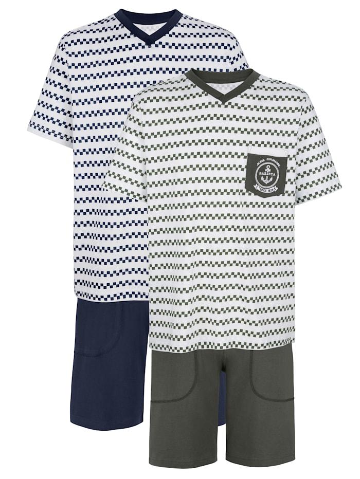 BABISTA Pyjashorts, Blanc/Marine/Kaki