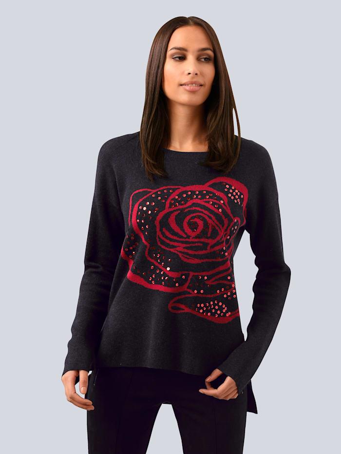Alba Moda Pullover mit floraler Intarsie, Schwarz/Rot