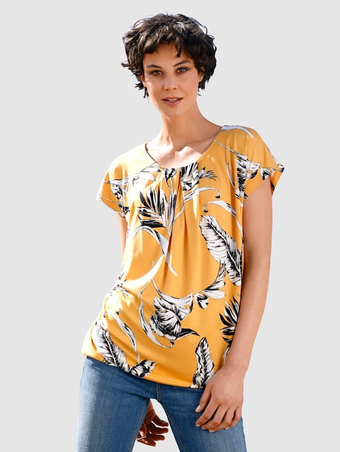 Dress In Shirt met bloemendessin, Geel