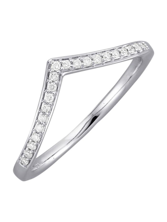 Damesring met diamanten en briljanten, Witgoudkleur