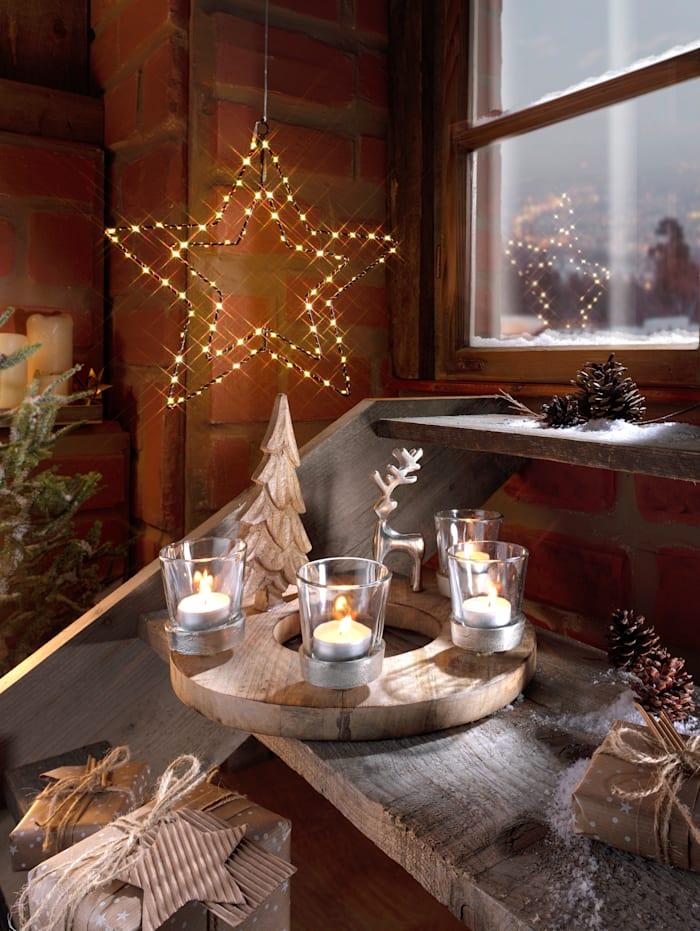 Globen Lighting Adventskrans rendier, Ecru