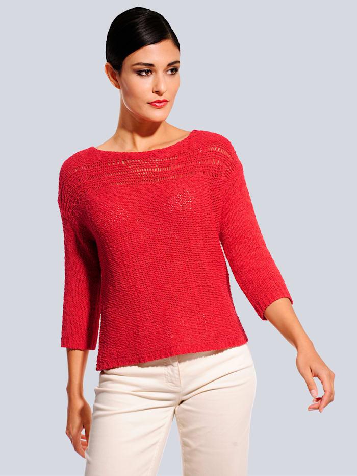 Alba Moda Pullover aus Bändchengarn, Rot