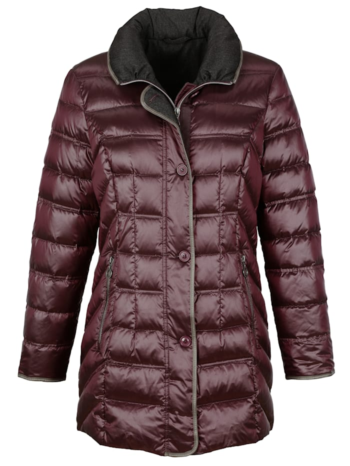Down jacket with faux leather piping