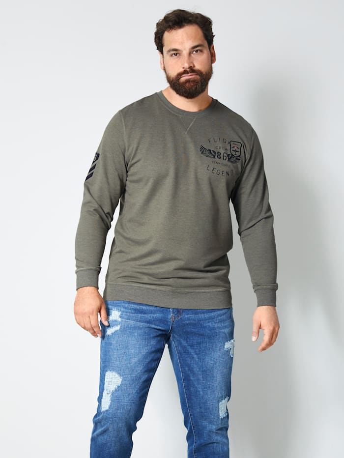 Men Plus Sweatshirt in melierter Optik, Dunkelbraun