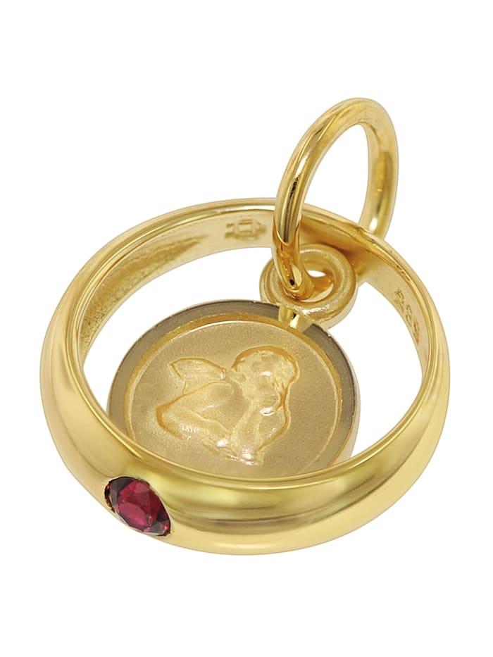 Taufring Rubin Engel Gold 585 / 14 Karat mit vergoldeter Kette