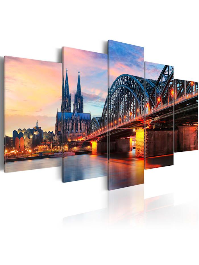 artgeist Wandbild Evening in Cologne, Blau,Braun,Orange,rosa