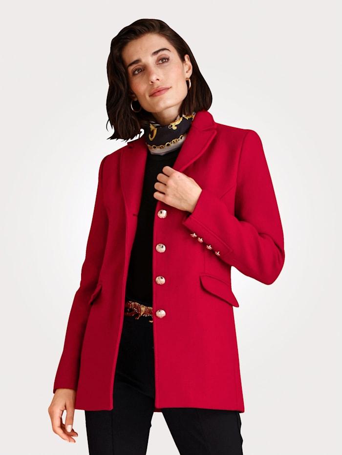 MONA Vlněný kabát s dekorativními erbovými knoflíky, Červená