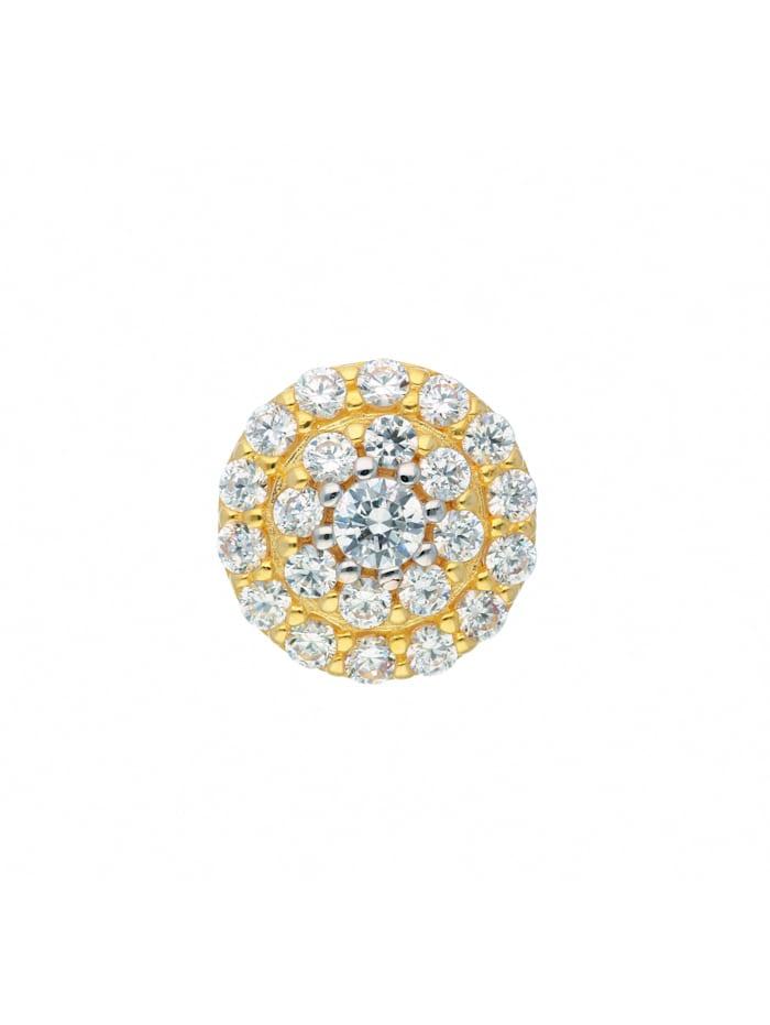 1001 Diamonds Damen Goldschmuck 585 Gold Anhänger mit Zirkonia Ø 9,5 mm, gold