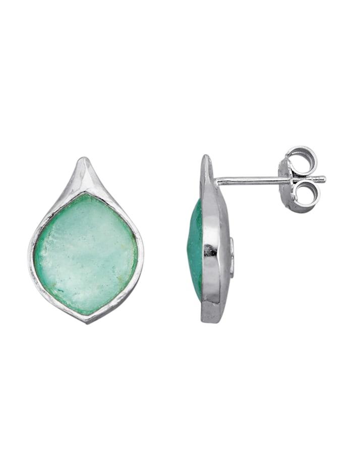 Roman Glass Oorstekers van echt zilver, Blauw