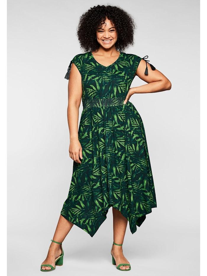 sheego by Joe Browns Jerseykleid mit Palmendruck, in Zipfelform, grün bedruckt