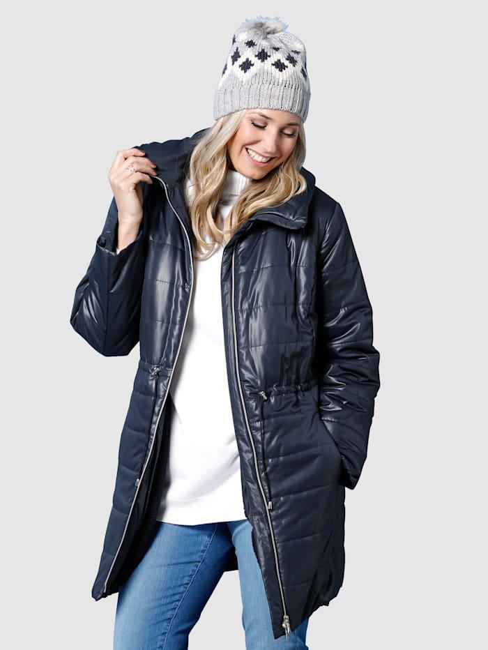 MIAMODA Prošívaný kabát s vatovaným ležatým límcem, Námořnická