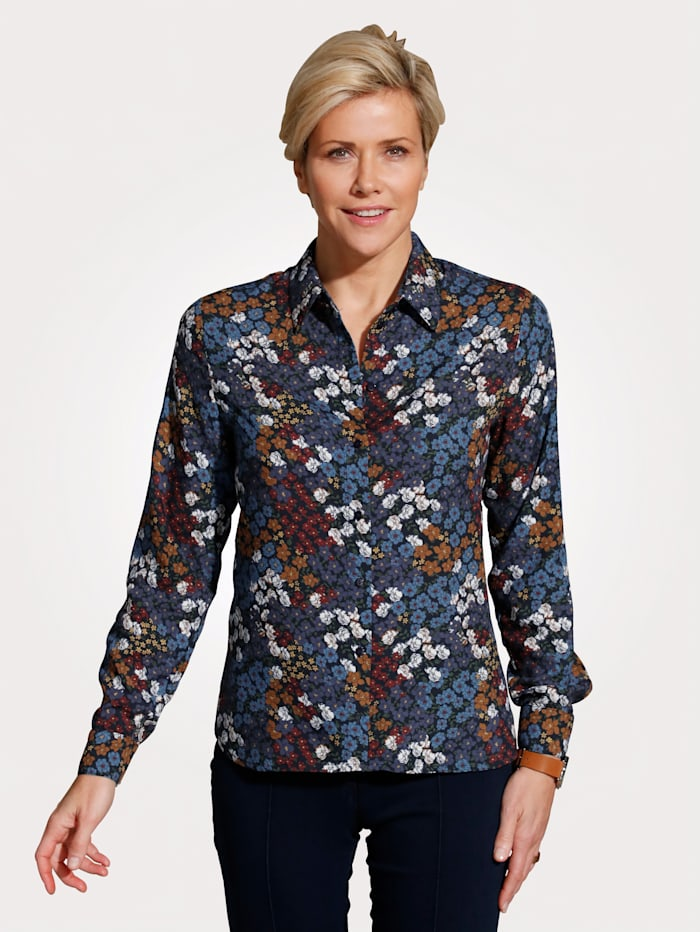 MONA Blouse with a floral print, Blue/Terracotta/Bordeaux