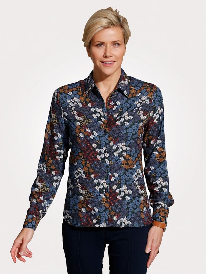 MONA Bluse mit Blumendruck, Blau/Terracotta/Bordeaux