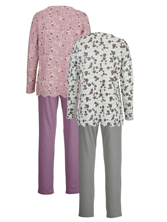 Kukkapaidallinen pyjama 2/pakkaus