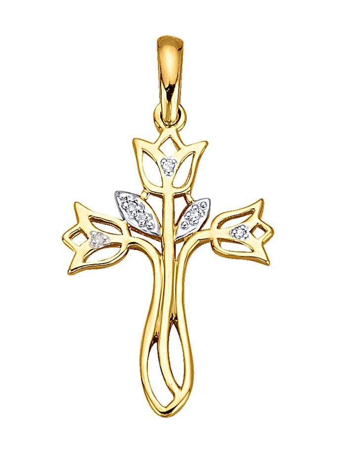 """Pendentif """"croix"""" serti d'un diamant, Coloris or jaune"""