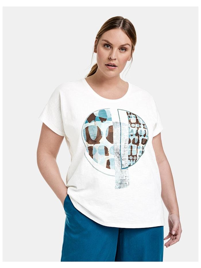 Samoon T-Shirt mit Front-Print aus GOTS zertifizierter Bio-Baumwolle, Offwhite gemustert