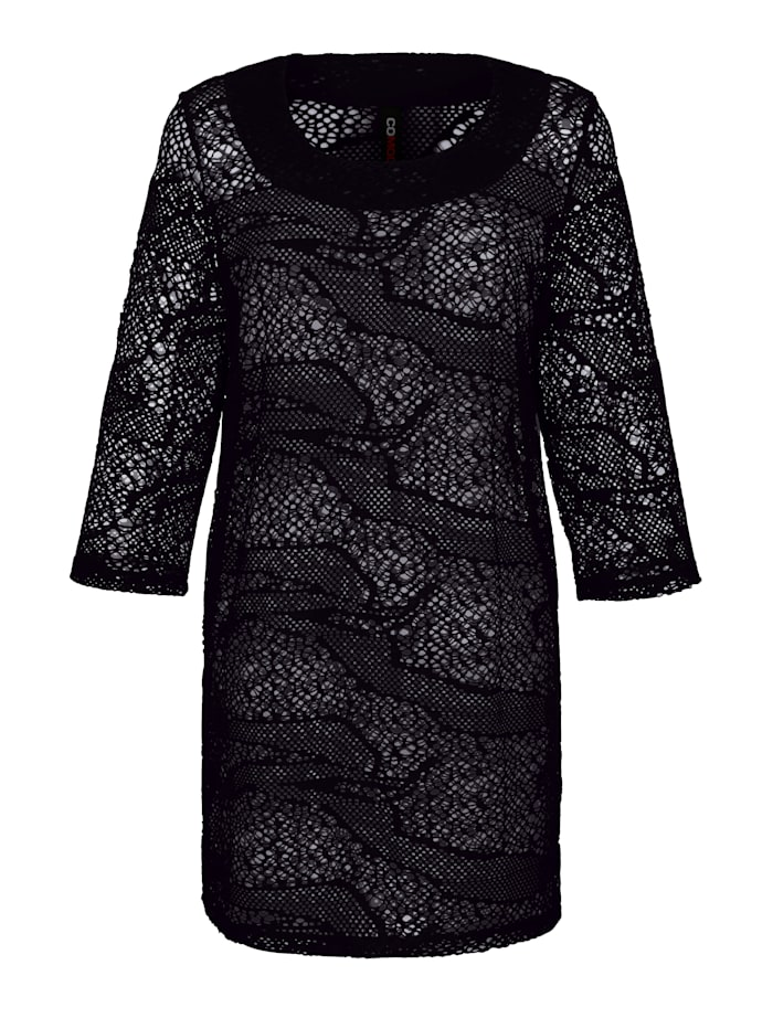 Maritim Tunic in an on-trend mesh finish, Black