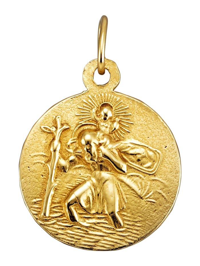 Ursula Christ Christophorus-Anhänger in Gelbgold 585, Gelbgoldfarben