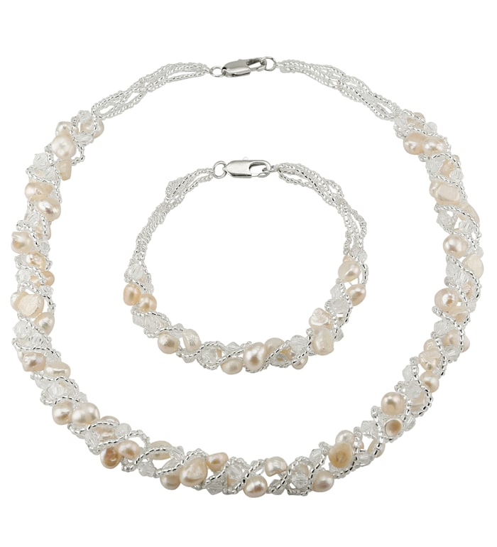 2-piece jewellery set with cultured freshwater pearls