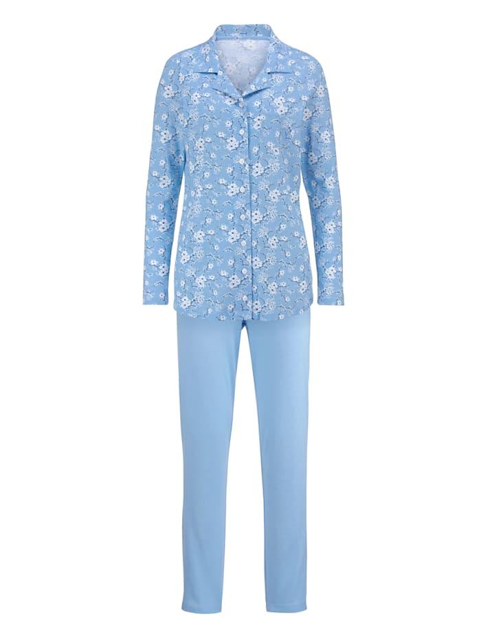 Pyjama met modieuze overhemdkraag