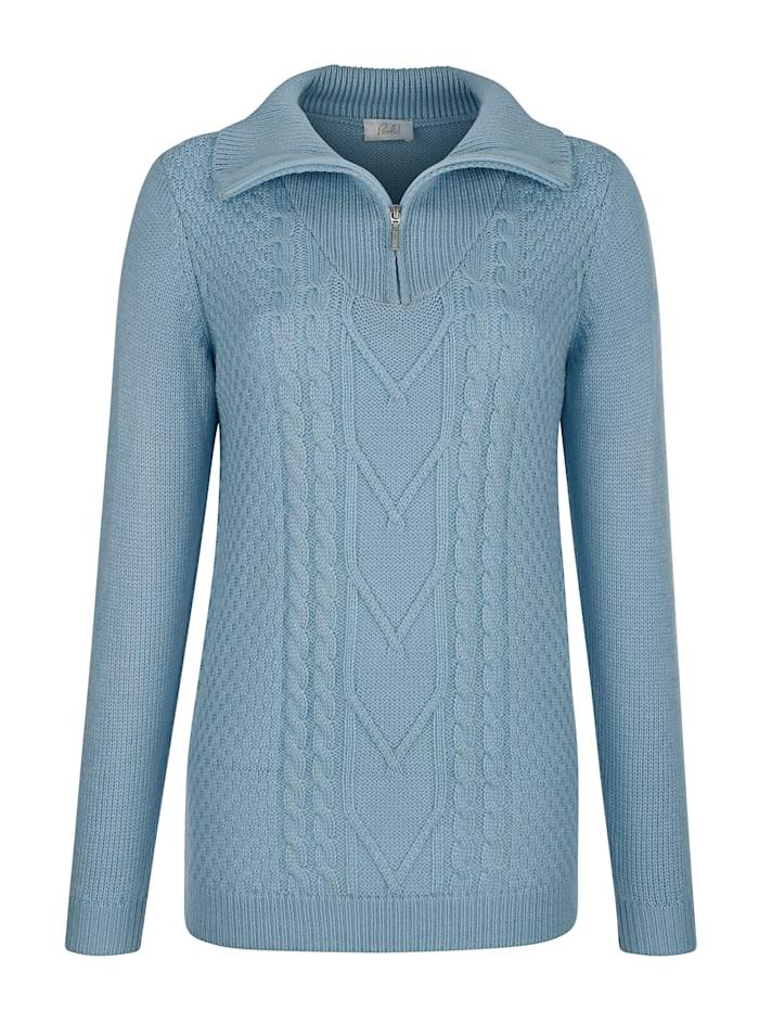 Pullover mit Zopfmuster und Troyerkragen
