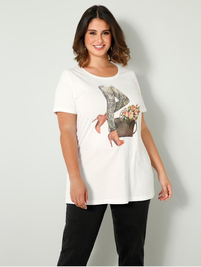 Sara Lindholm Shirt mit modischem Druckmotiv, Weiß