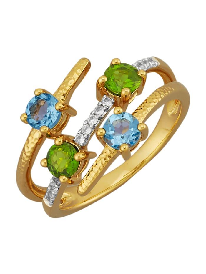 Gemondo Ring av guldfärgat silver 925, Blå