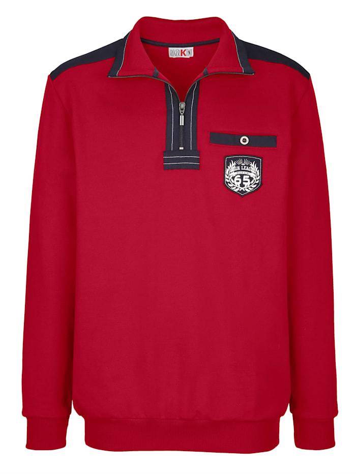 Sweatshirt med vävda detaljer i kontrast