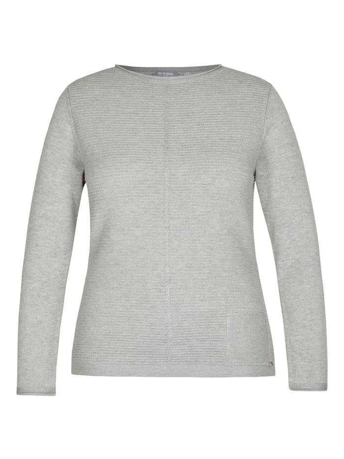 Rabe Pullover im Uni-Design und Rippenstrick, Anthrazit