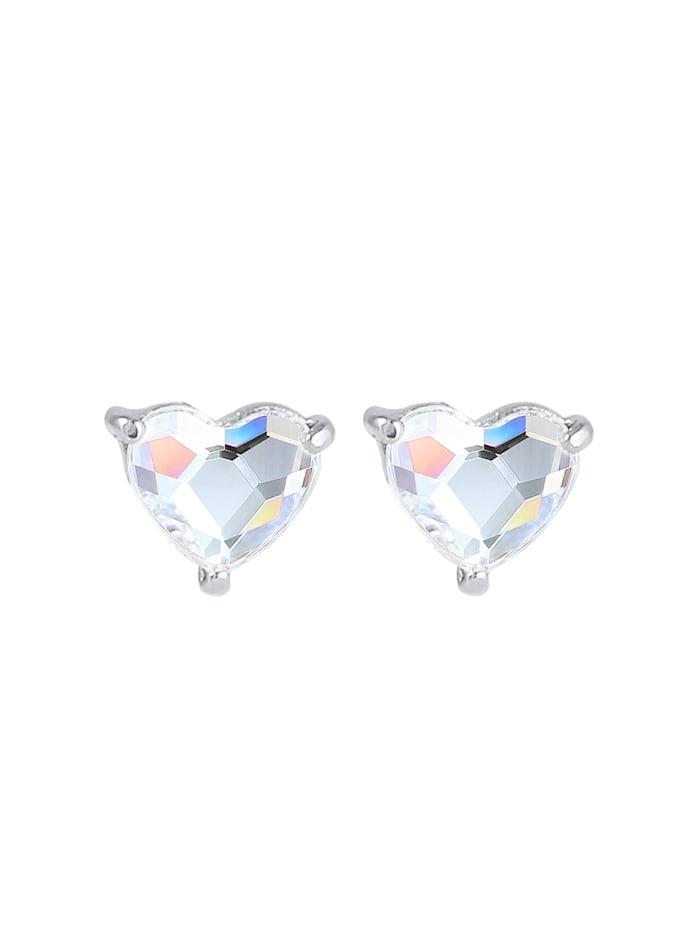 Ohrringe Herz Stecker Kristalle 925 Silber