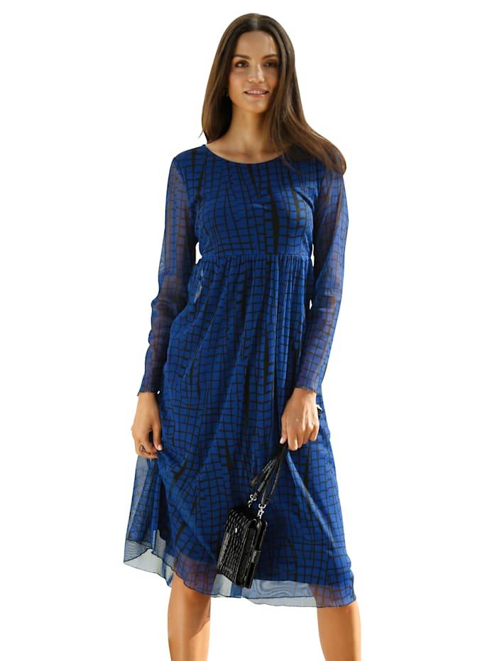 AMY VERMONT Kleid mit grafischem Muster allover, Royalblau/Schwarz