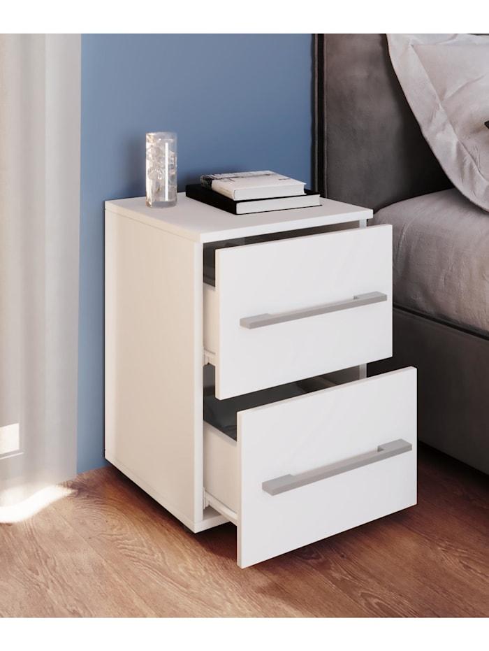 VCM Kommode Serie Sidal L, 2 Schubladen: Weiß / Weiß