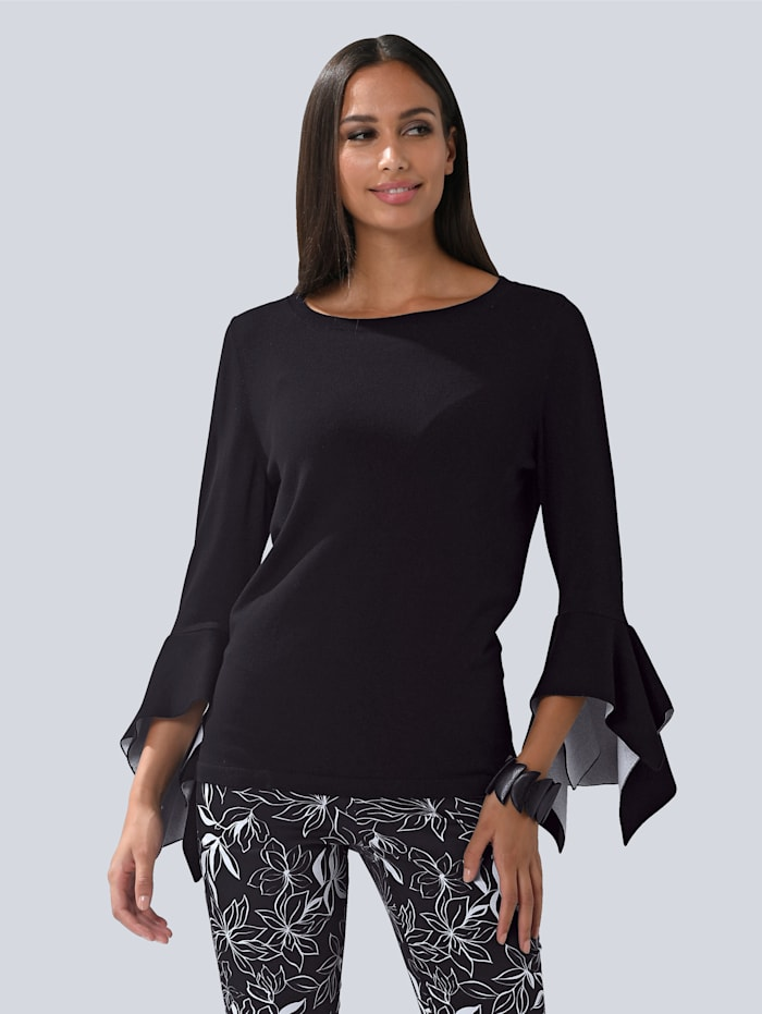 Alba Moda Pullover mit modischen Volant-Ärmeln, Schwarz/Weiß