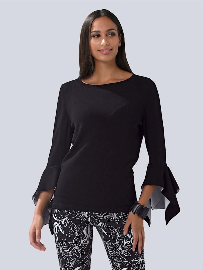 Alba Moda Pulovr s módními volánovými rukávy, Černá/Bílá